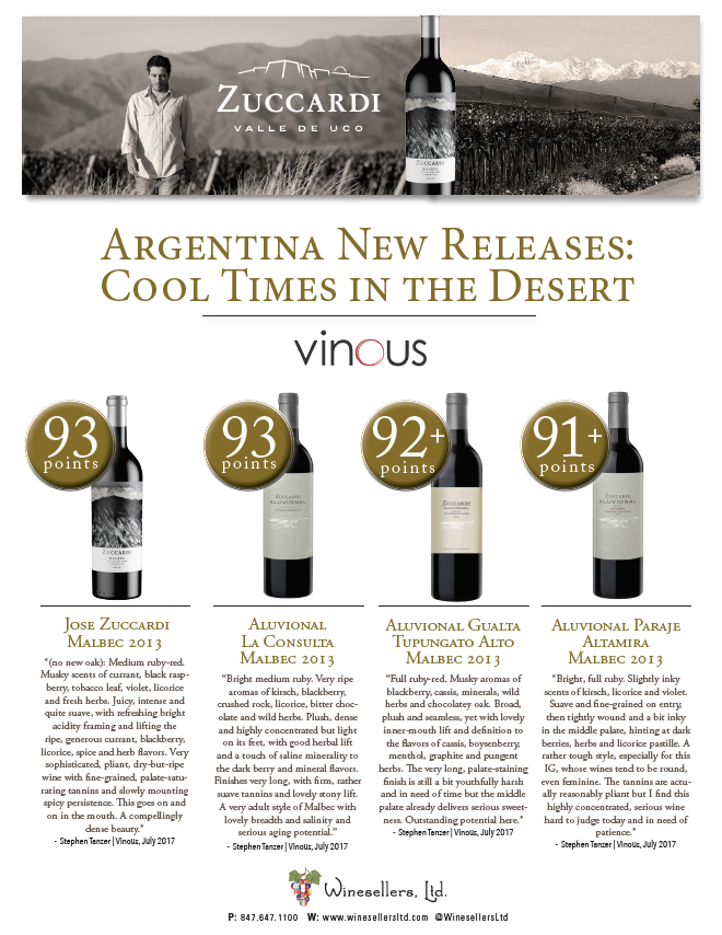 Winesellers, Ltd. Presents  Argentina New Releases: Cool Times in the Dessert