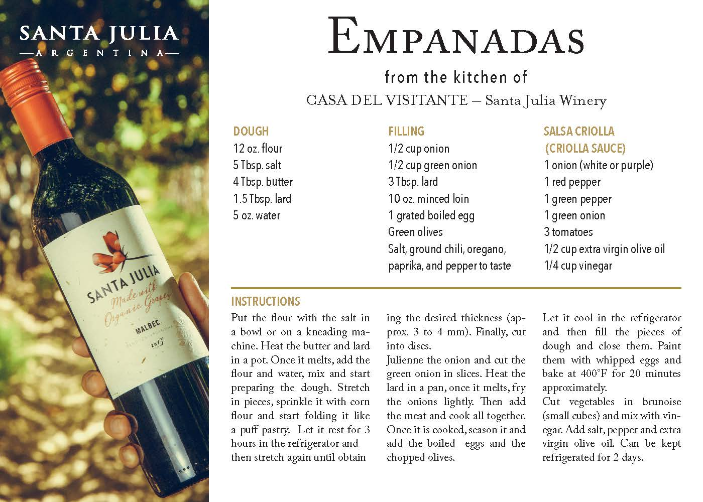 Empanada from the kitchen by Santa Julia