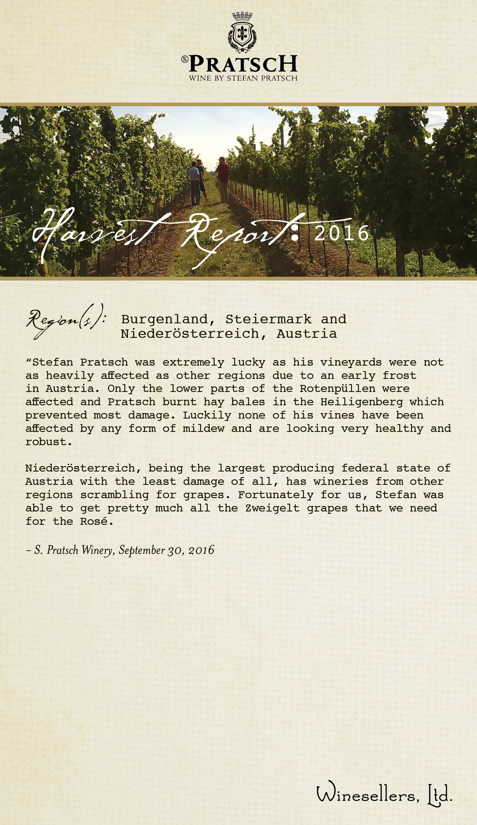 Winesellers, Ltd. Presents s. Pratsch Harvest 2016