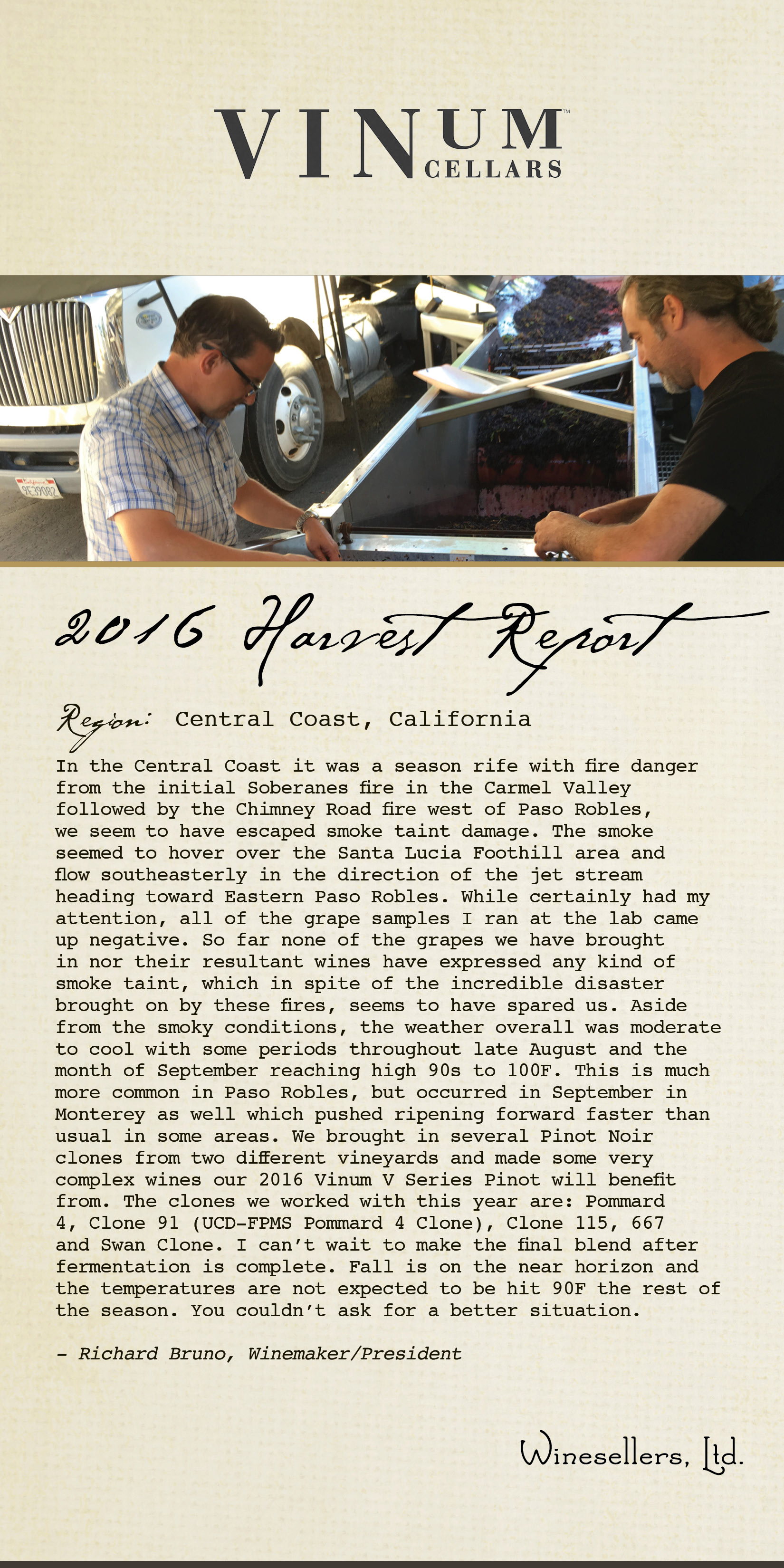 Winesellers, Ltd. Presents Vinum Cellars Central Coast Harvest 2016