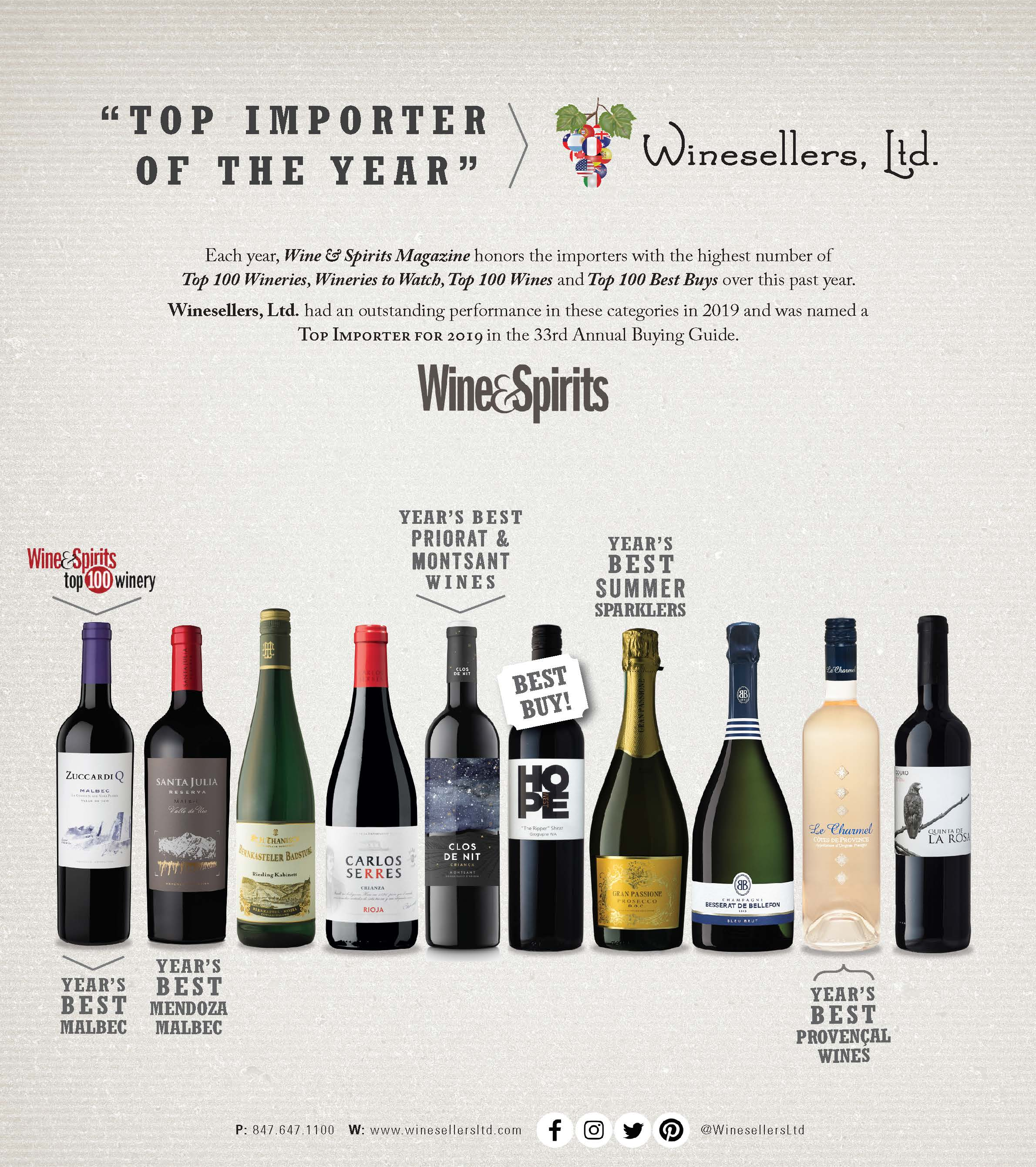 Winesellers, Ltd. named the 'Top Importer of the Year' by Wine & Spirits Magazine