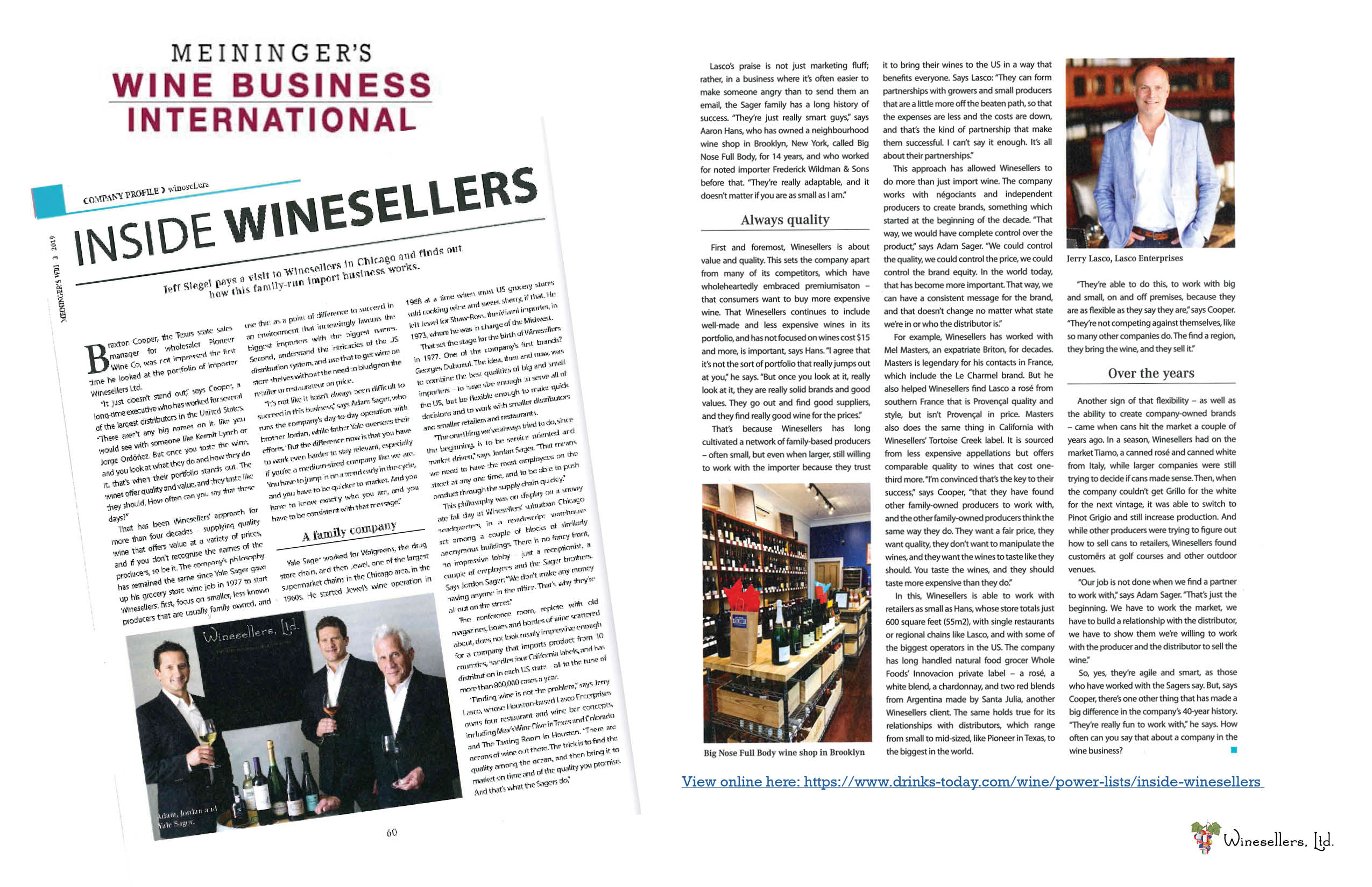 Inside Winesellers, Ltd.